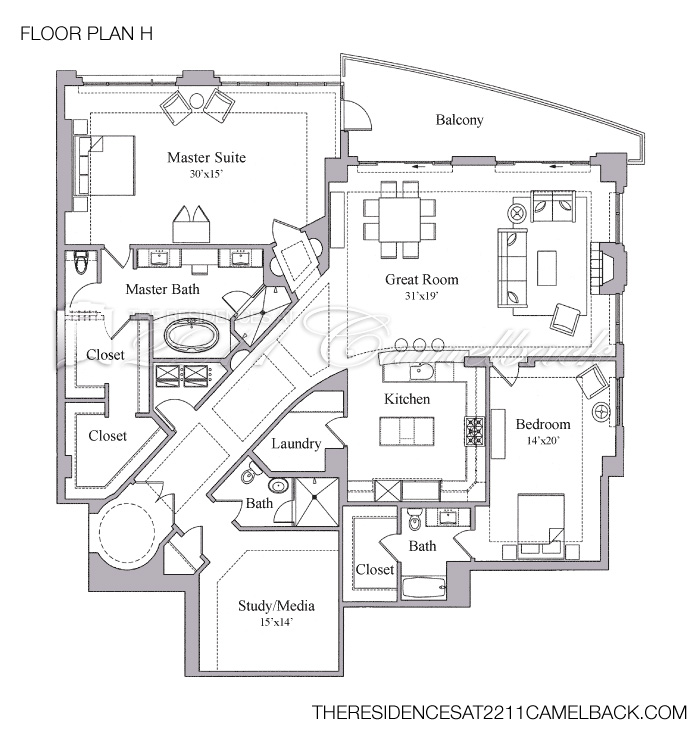 Floor Plan H - The Residences at 2211 Camelback